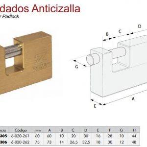 CANDADO ANTICIZALLA 60MM TEZZA
